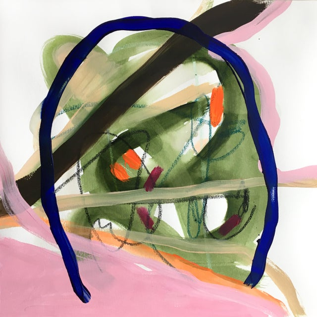 """Abstract """"Entrance"""" Original Absract Painting on Paper For Sale - Image 3 of 3"""