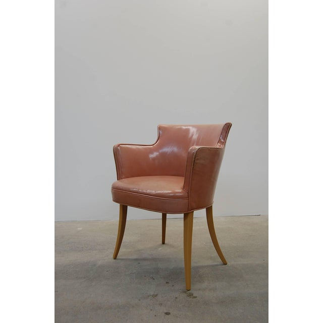Mid-Century Modern Set of Four Early Dunbar Dining Chairs in Leather For Sale - Image 3 of 7