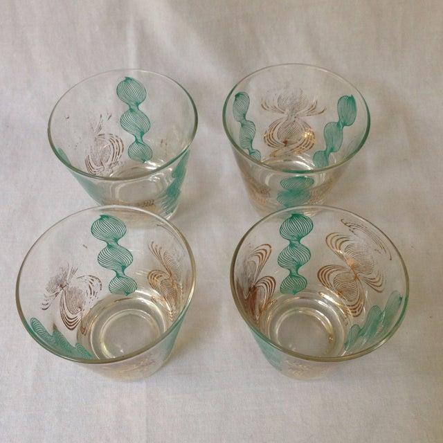 Mid-Century Modern Vintage Gilt and Blue Bar Glasses For Sale - Image 3 of 5