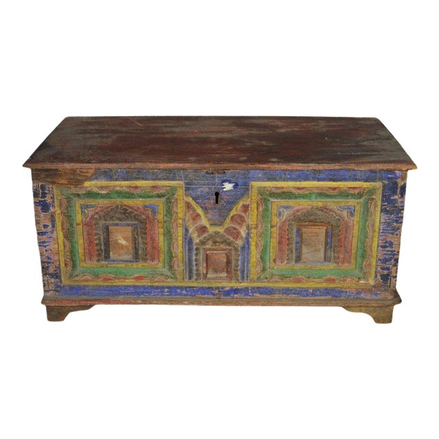 Antique Indian Hand-Carved and Painted Trunk with Patina, 19th Century For Sale