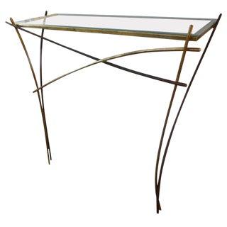 1960's Italian Pier Luigi Colli Attributed Gilt Iron Minimalist Console Table For Sale