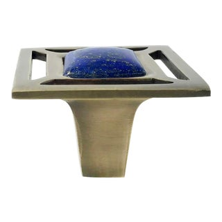 Addison Weeks Evans Knob, Antique Brass & Lapis For Sale