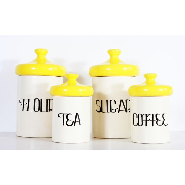 Ceramic Vintage Mid Century Ceramic Kitchen Canisters - Set of 4 For Sale - Image 7 of 7