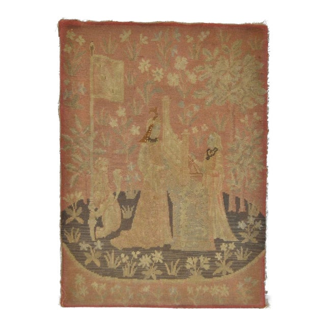Victorian English Embroidered Tapestry c.1900 For Sale