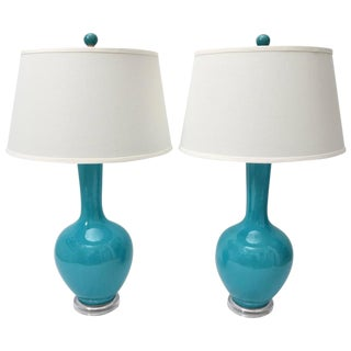 Turquoise & Lucite Vase Table Lamps - A Pair For Sale