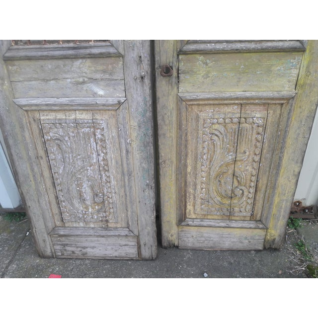Antique French Iron Grill Door Rustic Farmhouse Natural Doors - a Pair For Sale - Image 10 of 11