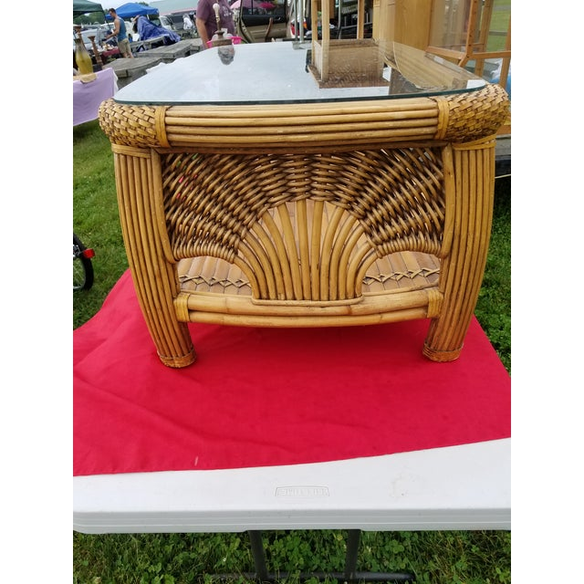 Boho Chic Mid Century Pencil Reed and Rattan Bamboo Glass Top Coffee Table For Sale - Image 3 of 8