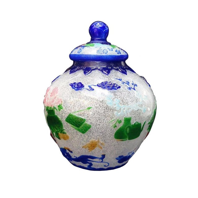 Vintage Chinese Icy White Peking Glass Vase Jar For Sale - Image 4 of 7