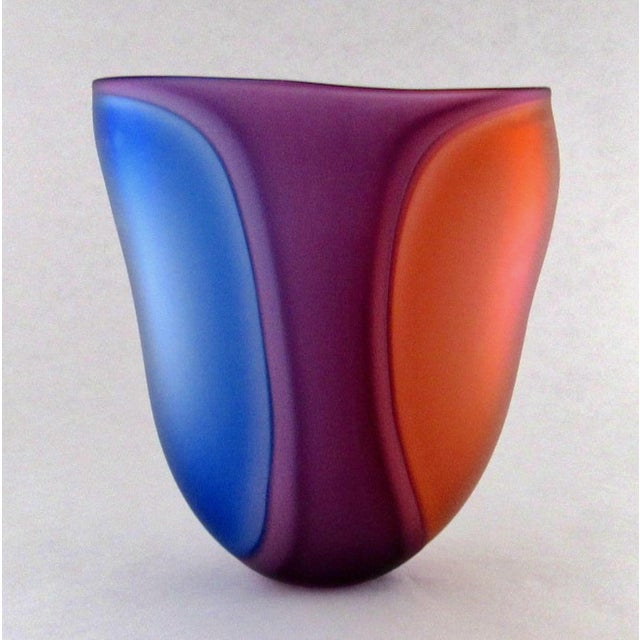 Abstract Beautiful Samphire Frosted Glass Vase - Cobalt, Wine, and Red For Sale - Image 3 of 11