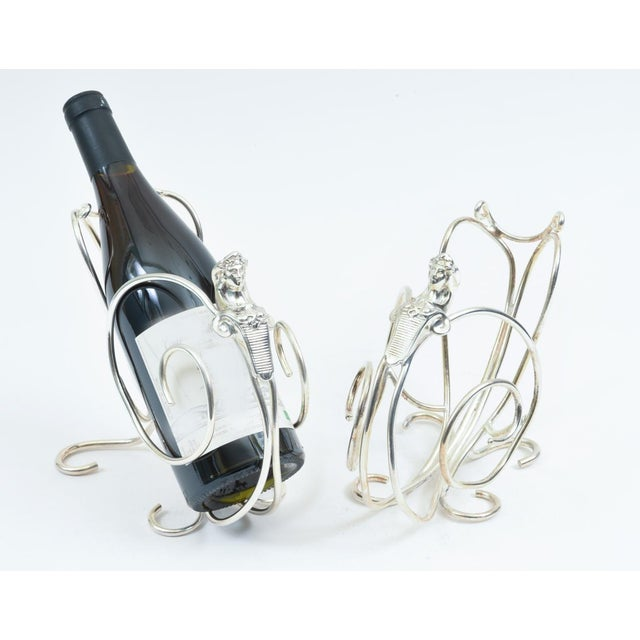 English Silver Plated Spinx Barware Wine Bottle Holder For Sale In New York - Image 6 of 10