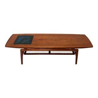 Circa 1950s Arne Hovmand-Olsen Danish Teak Coffee Table With Glass Tile Accent For Sale