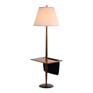 Laurel Lamp Company Walnut Floor Lamp With Suede Storage For Sale