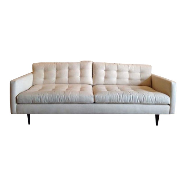 Crate & Barrel Contemporary White Tufted Sofa - Image 1 of 7