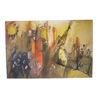 Vintage Mid Century Abstract Painting Signed by Higginbottom For Sale