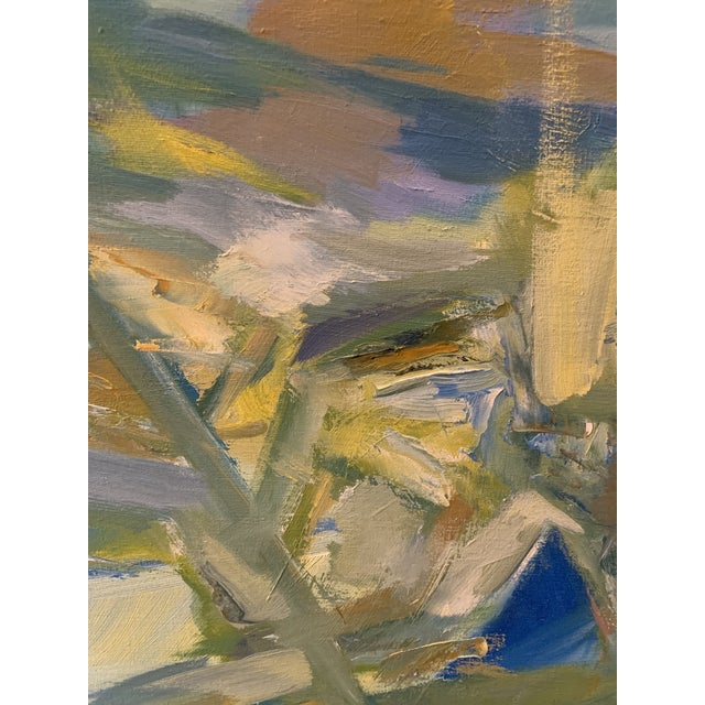 """Canvas Mid-Century Modern Abstract Oil Painting on Canvas """"Venice"""" 1964 For Sale - Image 7 of 11"""