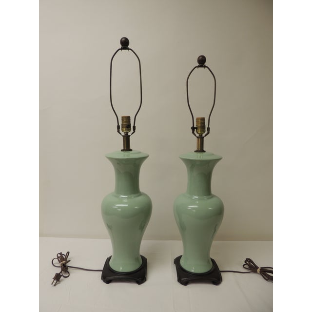 Wood Pair of Vintage Celadon Porcelain Table Lamps For Sale - Image 7 of 7