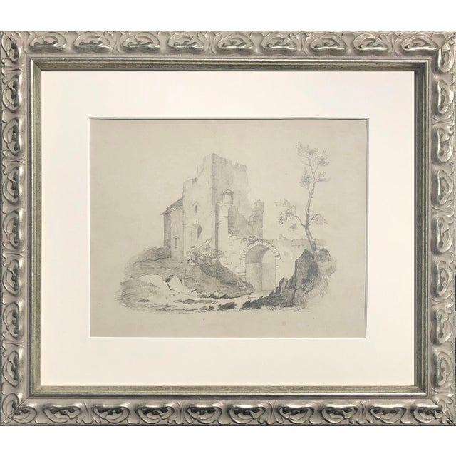 Antique 19th Century English Graphite Landscape Drawing With Castle C.1850 For Sale - Image 4 of 6