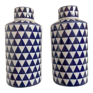 Geometric Ginger Jars, Pair For Sale
