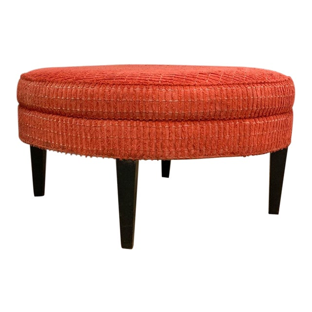 Large Mid Century Ottoman, Signed For Sale