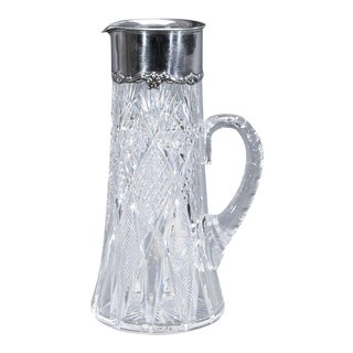 Signed Hawkes ABP Cut Crystal Pitcher/ Gorham Sterling Mount For Sale
