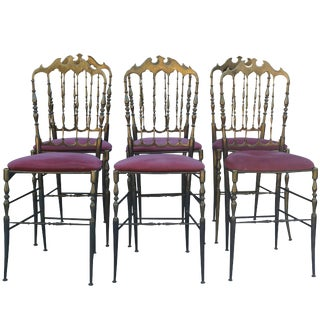 20th Century Chiavari Modernist Brass Dining Chairs - Set of 6 For Sale
