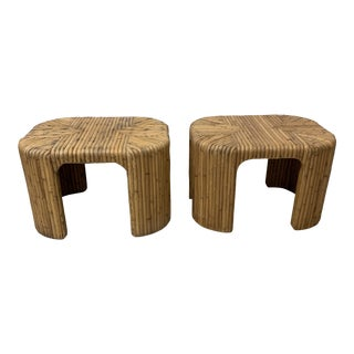 Vintage Split Reed Waterfall End Tables - Pair For Sale