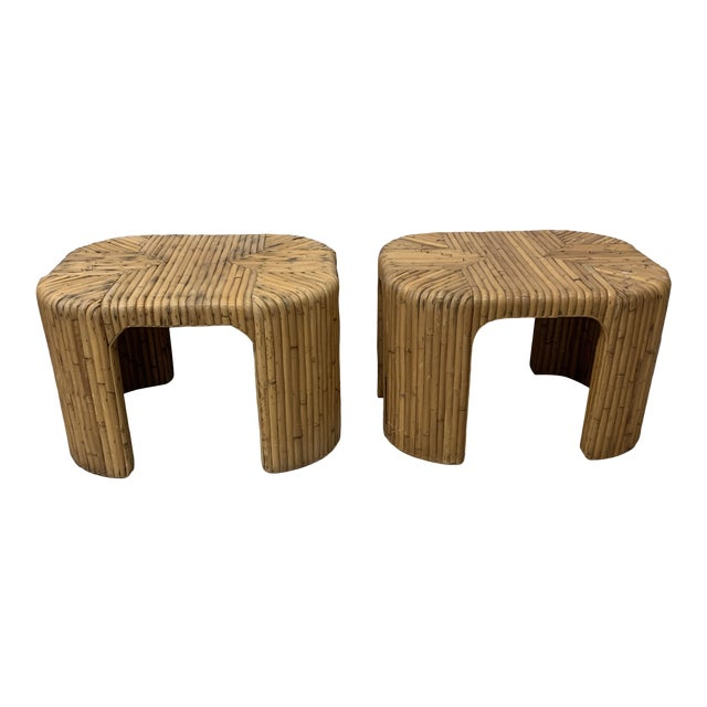 Vintage Split Reed Waterfall End Tables - Pair For Sale