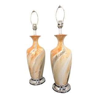 Glazed Ceramic Lamps - a Pair For Sale