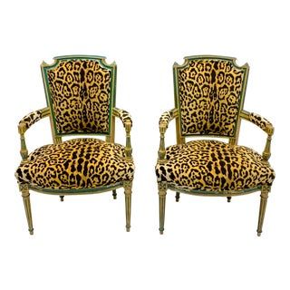 Pair of 19th-C. French Painted Bergere Chairs in Leopard For Sale