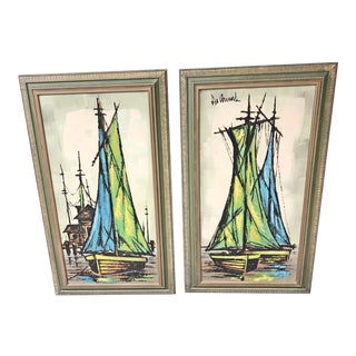 Mid Century Modern Green Sailboat Signed and Framed Prints - a Pair