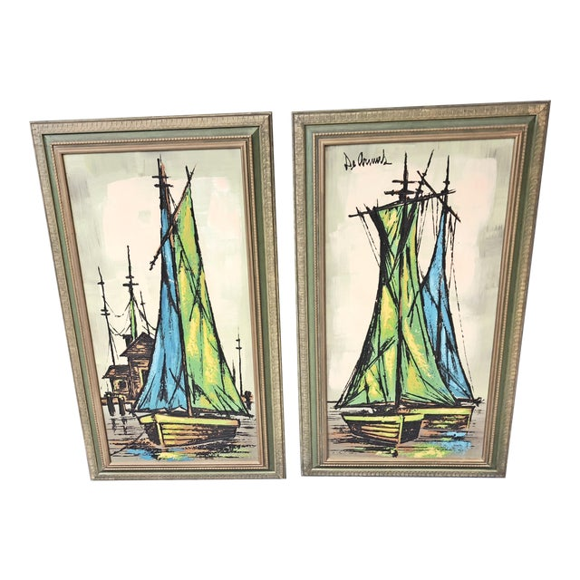 Mid Century Modern Green Sailboat Signed and Framed Prints - a Pair For Sale