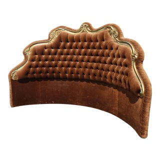 Vtg Hollywood Regency Louis XV Rococo Brown Velvet Tufted King Curved Headboard For Sale