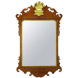 Chippendale Mirror in Burled Walnut With Gilt Plume Surmounter by Williamsburg Restorations Inc. For Sale