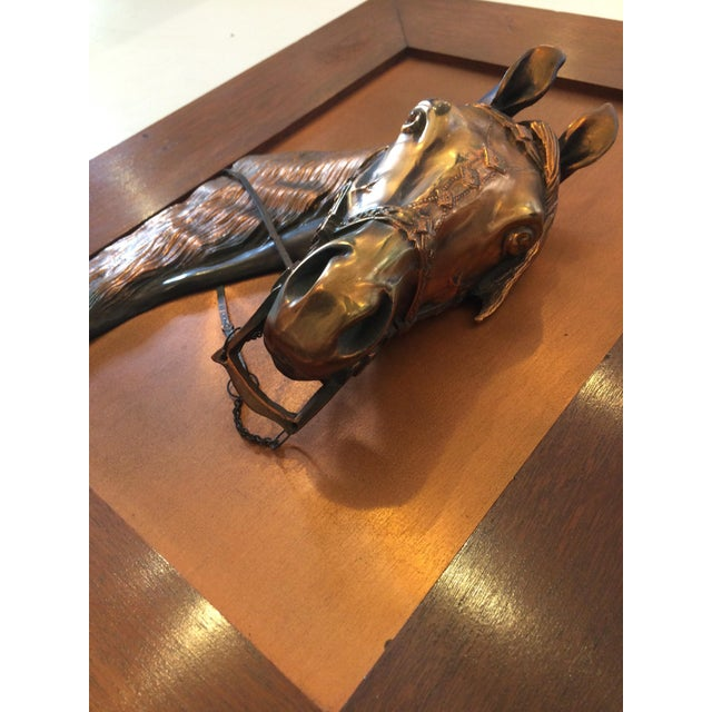Copper Vintage Framed Copper Equestrian Horse Head in Relief For Sale - Image 8 of 10
