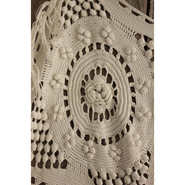 "Textile Antique French Table Cover / Crochet Handmade Lace Textile with Fringe - 84"" x 67"" For Sale - Image 7 of 9"