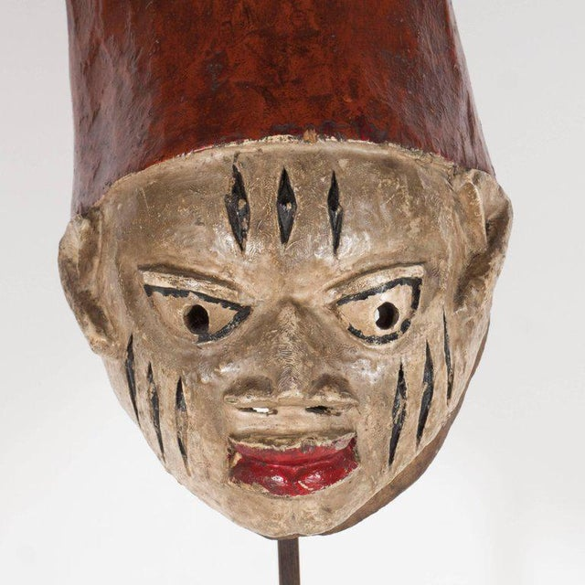 Early 20th Century Painted Head Crest Mask on Mount, Probably Yoruba, Nigeria, 20th Century For Sale - Image 5 of 10