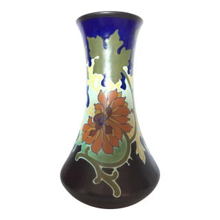 Mid 20th Cent. Gouda Blue and Black Floral Ceramic Vase For Sale