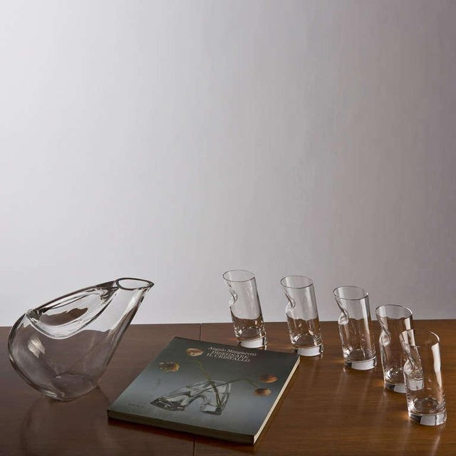 Crystal Pitcher and Glasses by Angelo Mangiarotti For Sale - Image 9 of 9