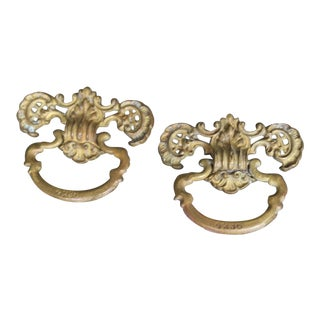 Antique Ornate Cabinet Door Pulls - a Pair For Sale