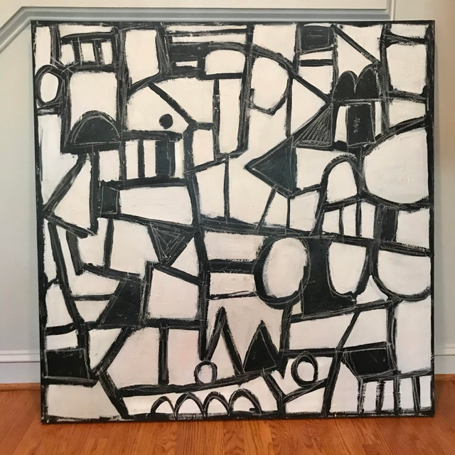 """Black Sarah Trundle, Contemporary Abstract Black and White Painting, """"Much Ado"""" For Sale - Image 8 of 8"""