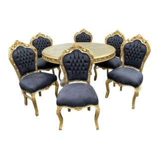 Gold and Black Velvet Baroque Style Dining Room Set - Table With 6 Chairs For Sale