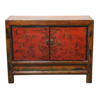 1920s Chinese Red Painted Cupboard For Sale