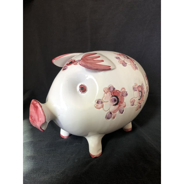 Big and clean Mid Cenury Italian Pottery Piggy Bank with Floral motif and heavy white glaze. Made of traditional Red Ware