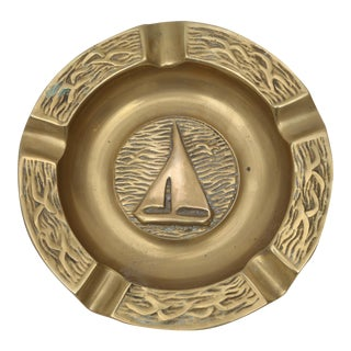 Vintage Brass Sail Boat Ashtray
