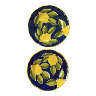 Italian Hand Painted Lemon Motif Plates - a Pair For Sale