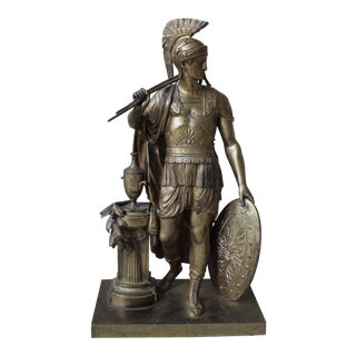 Antique Gilt Bronze Roman Clock Statue For Sale