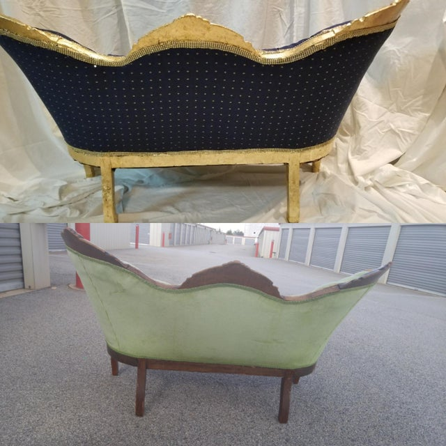 1960s Antique Settee in Navy Linen With Gilded Frame For Sale - Image 5 of 10