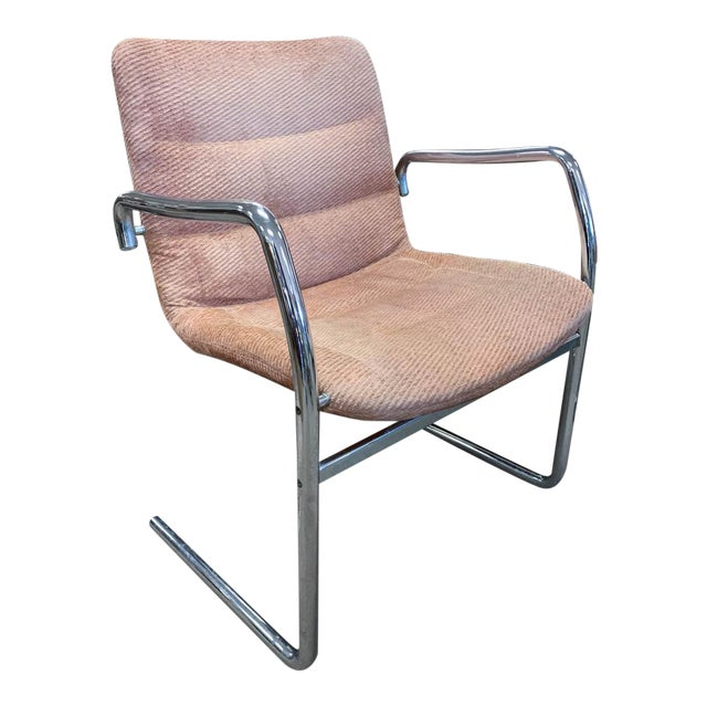 Mid Century Tubular Chrome Cantilevered Arm Chair in Pink For Sale