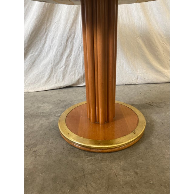 Mid-Century Modern Round Stone Top Italian Pedestal Dining Game Table - Mid Century For Sale - Image 3 of 10