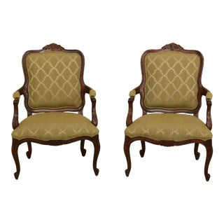 Pair French Louis XV Style Green Upholstered Open Armchairs For Sale